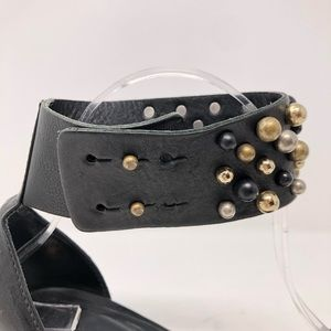 vic Shoes - Vic Shoes 37.5 Leather Heels Black Studs Metallic